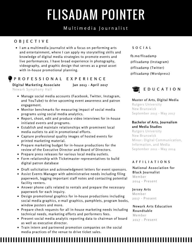 Flisadam Pointer's Resume page 1